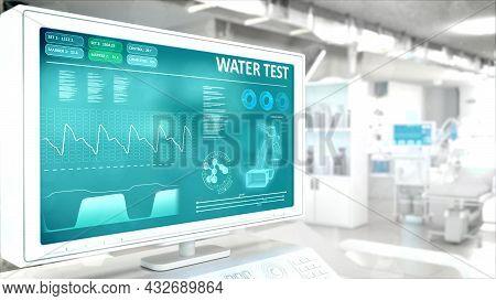 Drinkable Water Quality Test In Hi-tech Hospital Room . Digital Industrial 3d Rendering
