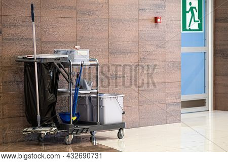 Universal Set For Wet Cleaning Of Shopping Center Premises. Modern Cleaning Company, Cleaning Kit On