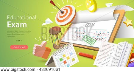 3d Vector Conceptual Illustration Of Educational Exam, Paper Test Sheet With Assessment Result