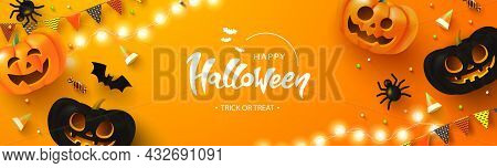 Happy Halloween Background With Glowing Pumpkins, Candy, Bat, Flags And Spiders.flyer Or Invitation