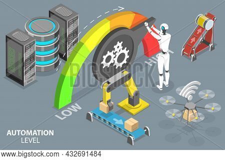 3d Isometric Flat Vector Conceptual Illustration Of Level Of Automation, Rpa And Artificial Intellig