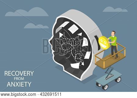 3d Isometric Flat Vector Conceptual Illustration Of Recovery From Anxiety, Mental Rehabilitation And