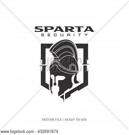 Spartan Helmet Badge Logo Icon Design Vector. Logo Concept For Business About Digital Security, Prot