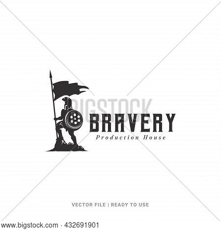 Spartan Knight With Shield And Spear Silhouette Vector, Sparta Warrior Logo Design With Movie Cinema