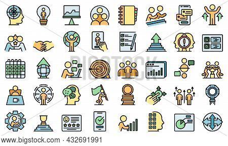 Human Resources Icons Set. Outline Set Of Human Resources Vector Icons Thin Line Color Flat Isolated