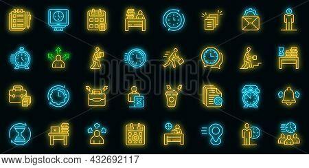 Rush Job Icons Set. Outline Set Of Rush Job Vector Icons Neon Color On Black