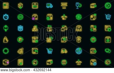 Return Of Goods Icon. Outline Return Of Goods Vector Icon Neon Color On Black