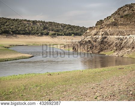Record Low Water Level Of Shrinking Ricobayo Reservoir In Spain.