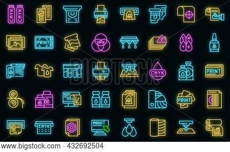 Digital Printing Icons Set. Outline Set Of Digital Printing Vector Icons Neon Color On Black