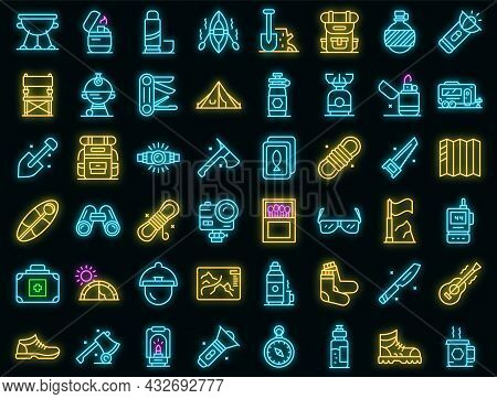 Equipment For Hike Icons Set. Outline Set Of Equipment For Hike Vector Icons Neon Color On Black