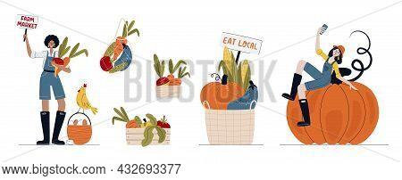 Farm Market, Harvest Festival Or Eat Local Concept. Set Of Farmer Women In Modern Style With Vegetab