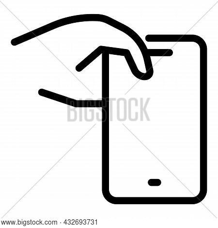 Using Cellphone Icon Outline Vector. Hand Phone. Touch Smartphone