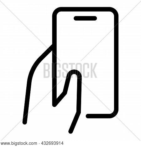 Hand Cellphone Icon Outline Vector. Hold Phone. Smart Display