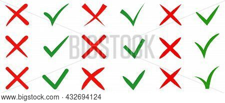 Vector Stylish Check Marks Big Set. Green Tick And Red Cross In Different Shapes. Yes Or No Accept A