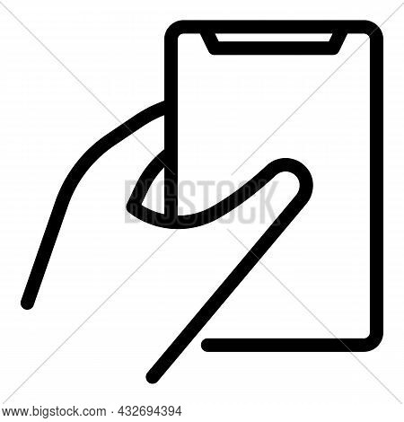 Touchscreen Mobile Icon Outline Vector. Hand Phone. Smartphone Screen