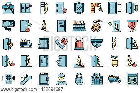 Human Evacuation Icons Set. Outline Set Of Human Evacuation Vector Icons Thin Line Color Flat Isolat