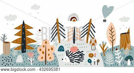 Children's Woodland Banner With Hedgehog And Forest Elements. Vector Illustration