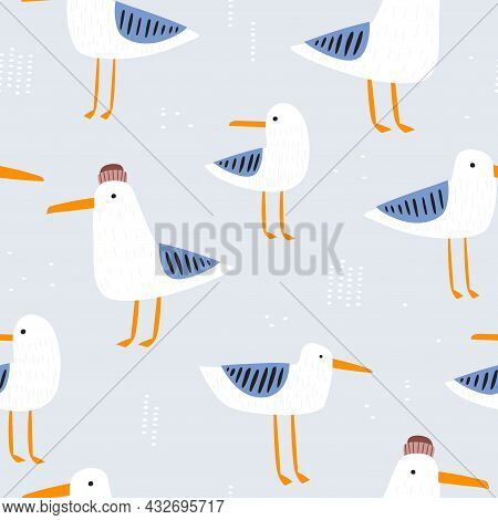 Seamless Seagulls Pattern. Creative Marine Summer Background. Vector Illustration
