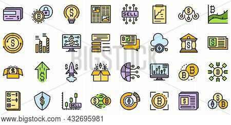 Emerging Market Icons Set. Outline Set Of Emerging Market Vector Icons Thin Line Color Flat Isolated