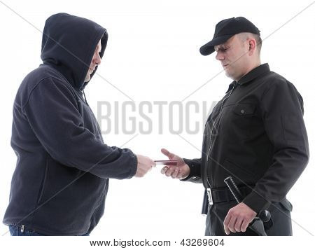 Policeman in black uniform checking ID of hooded suspect, shot on white