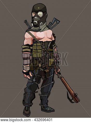 Cartoon Man In Gas Mask And With Weapon Apocalypse Survivor