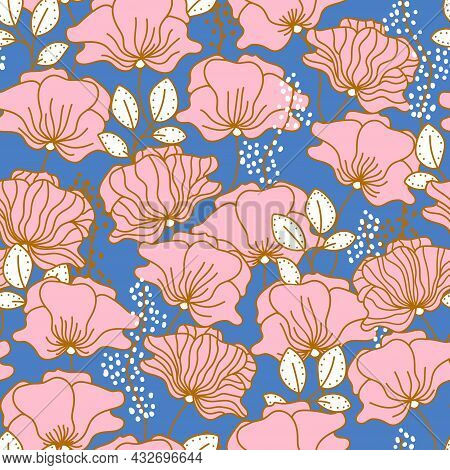 Seamless Floral Texture With Outlined Hand Drawn Pink Flowers And Leaves. Elegant Pattern For Fabric