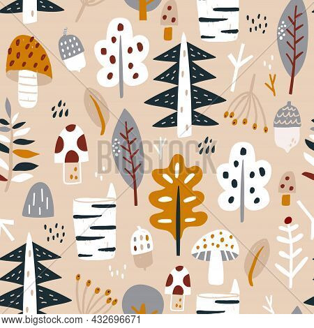 Woodland Seamless Pattern. Trendy Forest Texture Perfect For Textile, Fabric, Apparel, Wallpaper.vec