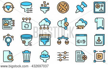 Filter Search Icons Set. Outline Set Of Filter Search Vector Icons Thin Line Color Flat Isolated On