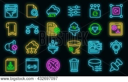 Filter Search Icons Set. Outline Set Of Filter Search Vector Icons Neon Color On Black