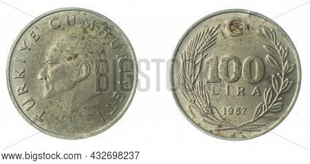 Turkey 100 Lira Coin On A White Isolated Background