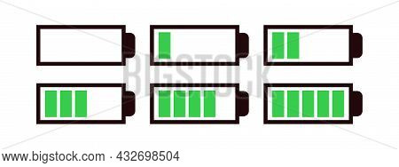 Battery Set Vector Symbol Different Level Of Charge For Ui Energy Symbol Mobile Phone, Battery Charg