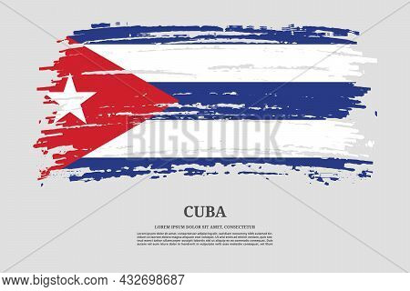 Cuba Flag With Brush Stroke Effect And Information Text Poster, Vector