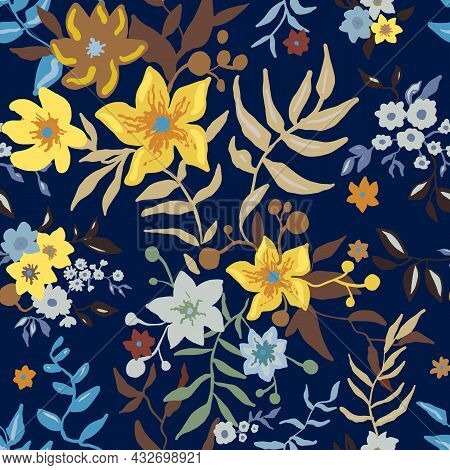 Tropical Floral Pattern. Colorful Graphic Floral Vector Seamless Pattern On Blue Background. Stylize