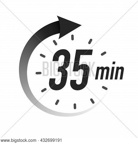 35 Timer Minutes Symbol Black Style Isolated On White Background. Clock, Stopwatch, Cooking Time Lab
