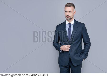 Confident Businessman Man In Businesslike Suit, Copy Space, Ceo