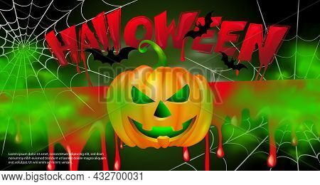 Happy Halloween Scary Jack-o'-lantern Bat Spider Web And Bloody Typographic Design Text