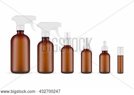 Set Of Amber Cosmetic Bottles Spray, Dropper, Roller For Cleaning Products, Essential Oils Or Aromat