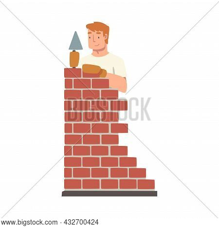 Handyman Or Fixer As Skilled Man Laying Bricks Engaged In Home Repair Work Vector Illustration