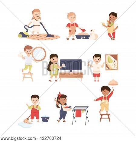 Cute Kids Doing Housework And Housekeeping Vacuum Cleaning And Mopping Floor Vector Set