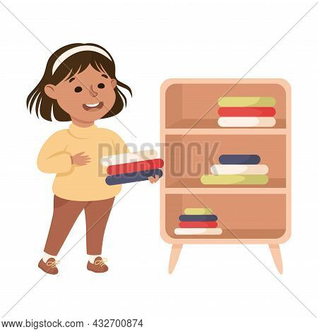 Cute Girl Doing Housework And Housekeeping Folding Clothing On Shelf Vector Illustration