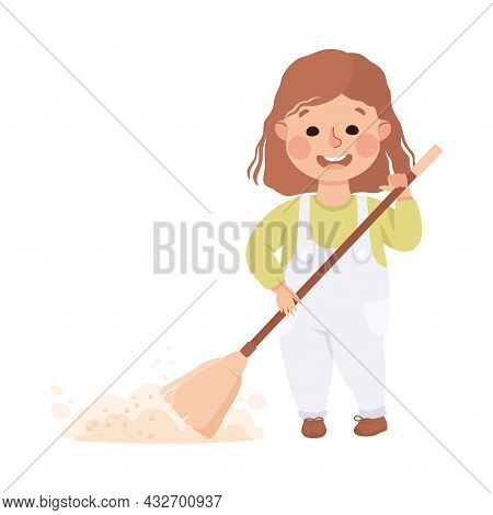Cute Girl Doing Housework And Housekeeping Sweeping The Floor With Broom Vector Illustration