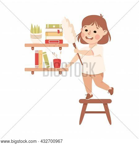 Cute Girl Doing Housework And Housekeeping Dusting Bookshelf Vector Illustration