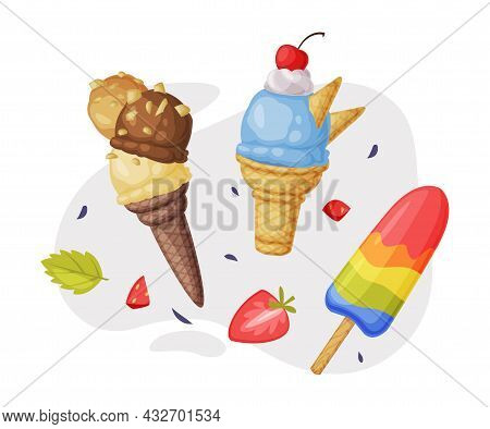 Ice-cream Waffle Cone And On Stick With Sprinkle As Frozen Dessert And Snack Vector Composition