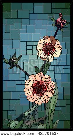 Vector Vertical Angular Mosaic With Blooming Pink Cinquefoil Flowers In Vertical Stained Glass Windo