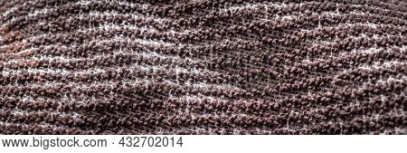 White And Brown Cotton Fabric. Background Or Texture