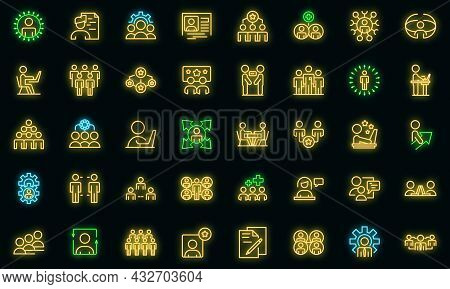 Colleague Icons Set. Outline Set Of Colleague Vector Icons Neon Color On Black