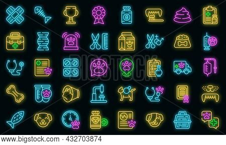 Veterinary Clinic Icons Set. Outline Set Of Veterinary Clinic Vector Icons Neon Color On Black