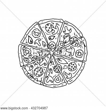 Pizza Drawing, Image For The Menu. Cafe, Pizzeria. Poster With Slices Of Pizza.black Line Drawing Is