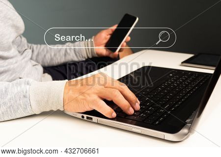 Search Browsing Internet Connecting Worldwide, Hand-holding Search Icon Business. Data Search Engine