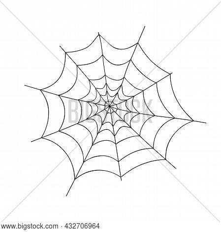 Black Spider Web On White Background. Design Element, Icon. Vector Illustration.
